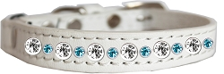Posh Jeweled Dog Collar White with Aqua Size 14